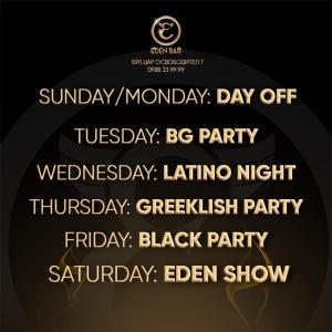Party Program EDEN BAR